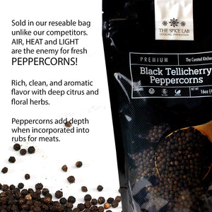 The Spice Lab Peppercorns – Tellicherry Whole Black Peppercorns for Grinder Refill - 18oz. Tub - Steam Sterilized Kosher Packed in the USA - All Natural Black Pepper - Pepper Grinder / Pepper Mill