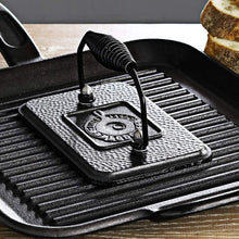 "Load image into Gallery viewer, Lodge Rectangular Cast Iron Grill Press. 6.75 x 4.5"" Cast Iron Grill Press with Cool-Grip Spiral Handle."