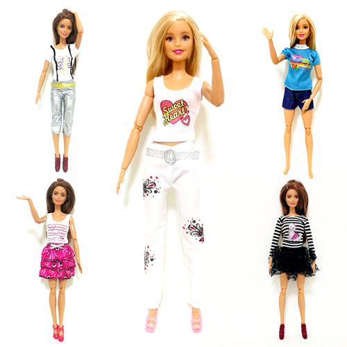 Summer Fashion Dress Outfit Sets for 1:6 30cm BJD FR Doll Clothes Dollhouse Roll Play Accessories