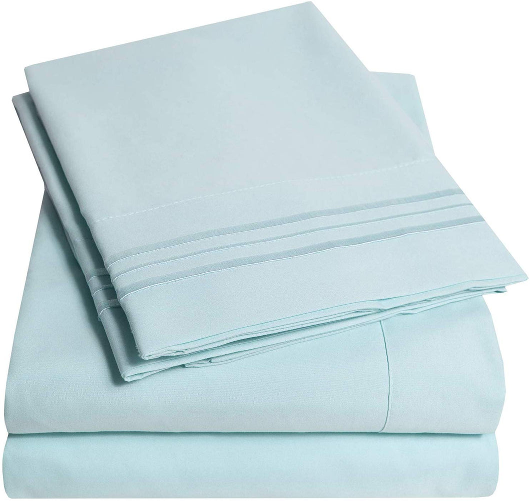 1500 Supreme Collection Extra Soft Twin Sheets Set, Light Blue - Luxury Bed Sheets Set with Deep Pocket Wrinkle Free Hypoallergenic Bedding, Over 40 Colors, Twin Size, Light Blue