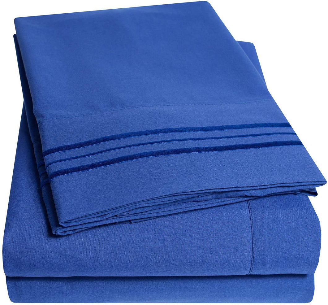 1500 Supreme Collection Bed Sheets Set - Premium Peach Skin Soft Luxury 4 Piece Bed Sheet Set, Since 2012 - Deep Pocket Wrinkle Free Hypoallergenic Bedding - Over 40+ Colors - King, Royal Blue