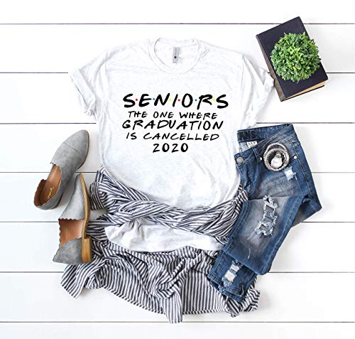 Up2ournecksinfabric LLC Seniors 2020 the one where graduation is cancelled quarantine shirt friends tv shirt high school shirt social distancing gift funny graduation gift Choose Size White