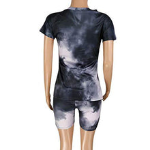 Load image into Gallery viewer, Portazai Women's 2 Piece Outfits Casual Tie-Dyed T-Shirts Workout Tracksuit Bodycon Pants Suit Set Jumpsuit Rompers Sportswear Black Portazai Women Outfits Small
