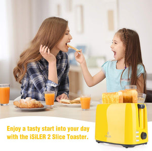 iSiLER 2 Slice Toaster, 1.3 Inches Wide Slot Toaster with 7 Shade Settings and Double Side Baking, Compact Bread Toaster with Removable Crumb Tray, UL Certified, Defrost Reheat Cancel Function