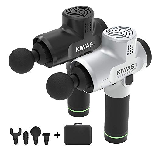kiwas Muscle Massage Gun Deep Tissue Massager, Percussion Massage Gun for Athletes Quiet, Massage Gun Cordless Handheld Deep Tissue,Silver