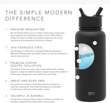 Load image into Gallery viewer, Simple Modern 18 oz Summit Water Bottle with Straw Lid - Gifts for Kids Hydro Vacuum Insulated Tumbler Flask Double Wall Liter - 18/8 Stainless Steel - Midnight Black