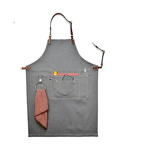 Luchuan Grey Canvas Work Apron/Adjustable Dermal Cortical Band Tool Apron/Barber Apron/Heavy Duty Work Apron for Men & Women with Pocket and Hanging Ring (31inch by 23.62inch) 31 by 23.62inch Gray