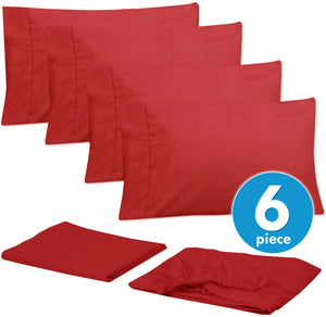 Sweet Home Collection 6 Piece 1500 Thread Count Brushed Microfiber Deep Pocket Sheet Set - 2 EXTRA PILLOW CASES, VALUE, RV Short Queen, Samba Red