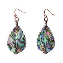 Load image into Gallery viewer, Tree of Life Hand Wrapped Sea Abalone Shell Earrings for Women