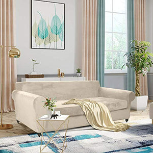 MOYMO 2-Piece Stretch Velvet XL Sofa Slipcover, High Stretch Couch Covers for 3 Cushion Couch, Slipcovers for Sofas, Couch Covers for Sofa, Living Room, Dogs, Sofa/Couch Cover(Sofa:Beige) X-Large