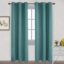 Load image into Gallery viewer, NICETOWN Thermal Insulated Solid Grommet Blackout Curtains/Drape for Living Room (Sea Teal, 1 Pair, 42 by 84-Inch)