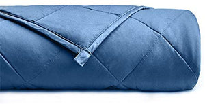 YnM Weighted Blanket for Couple, 20 lbs 80''x87'' King Size | 100% Oeko-Tex Certified Cotton Material with Premium Glass Beads | A Monaco Blue Premium Cotton Duvet Cover Inclued