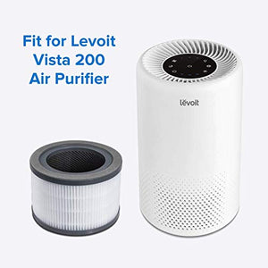 LEVOIT Vista 200 Air Purifier Replacement Filter, 3-in-1 Nylon Pre-Filter, True HEPA Filter, High-Efficiency Activated Carbon Filter, Vista 200-RF 1Pack Black
