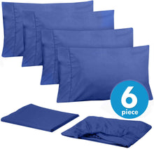 Load image into Gallery viewer, Cal King Size Bed Sheets - 6 Piece 1500 Thread Count Fine Brushed Microfiber Deep Pocket California King Sheet Set Bedding - 2 Extra Pillow Cases, Great Value, California King, Royal Blue
