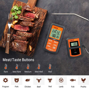 ThermoPro TP-07 Wireless Remote Digital Cooking Turkey Food Meat Thermometer for Grilling Oven Kitchen Smoker BBQ Grill Thermometer with Probe, 300 Feet Range