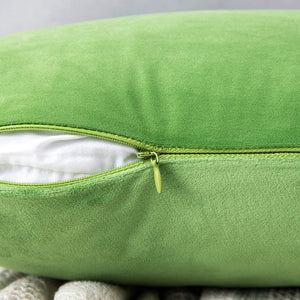 MIULEE Pack of 2 Velvet Pillow Covers Decorative Square Pillowcase Soft Solid Cushion Case for Sofa Bedroom Car 16 x 16 Inch Apple Green