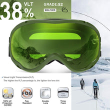 Load image into Gallery viewer, ZIONOR Lagopus Ski Snowboard Goggles UV Protection Anti Fog Snow Goggles for Men Women Youth
