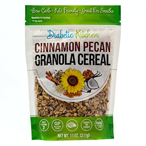 Diabetic Kitchen Cinnamon Pecan Granola Cereal, Keto Friendly, 3 Net Carbs, No Added Sugar, Gluten-Free, 5g Fiber, Non-GMO, No Artificial Sweeteners or Sugar Alcohols (11 oz) 11 Ounce
