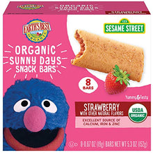 Load image into Gallery viewer, Earth's Best Organic Sesame Street Sunny Day Toddler Snack Bars with Cereal Crust, Strawberries, 8 Count Box (Pack of 6)