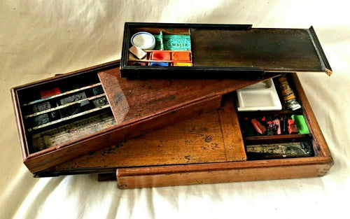 3 SLIDE TOP Watercolor ARTIST BOXES. REEVES, OSBORNE and MALER-FARBEN. c.1800s