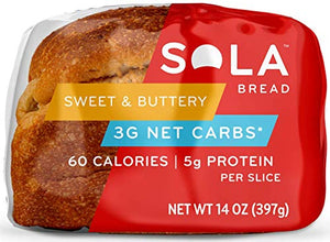 Sola Sweet and Buttery Bread – Low Carb, Low Calorie, Reduced Sugar, 5g Protein Per Slice – 14 OZ Loaf of Sandwich Bread (Pack of 3) 3 Pack