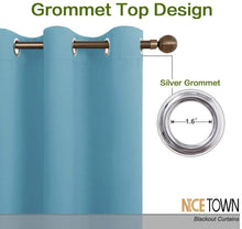 Load image into Gallery viewer, NICETOWN Room Darkening Curtain Panels - Toddler Boy Bedroom Drapes with Grommet Top, Energy Smart Window Treatment Curtains(Teal Blue, 42 inches W x 90 inches L, 2 Panels)