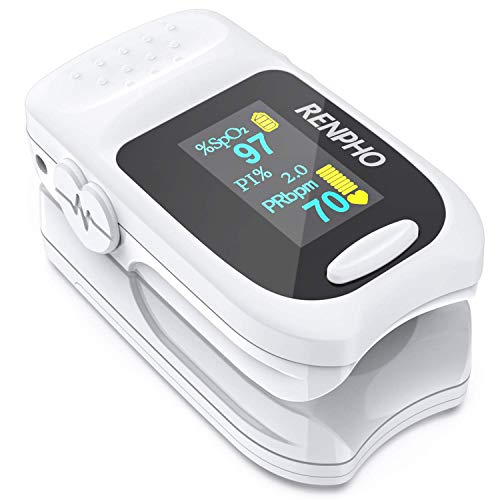 Pulse Oximeter Fingertip, RENPHO Accurate Reading Pediatric and Adult Pulse Oximeter Monitor, Blood Oxygen Meter, Batteries and Lanyard, Spo2 Pulse Oximeter Portable with Alarm White