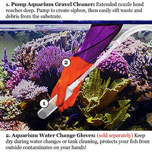 SunGrow Aquarium Cleaning Pump Kit, BPA Free, Easy-to-Use, No Spill, Tank Cleaner, Pet-Friendly, Long Nozzle Feature, Perfect for Cleaning and Changing Water in Tank