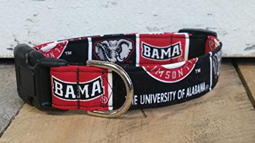 Buddy and Friends Alabama Crimson Tide University dog collar buckle or martingale with leash set option
