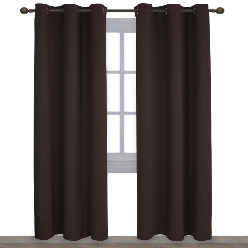 NICETOWN Energy Smart Thermal Insulated Solid Grommet Blackout Curtains/Drapes for Living Room (2 Panels,42 inches x 84 inches,Toffee Brown)