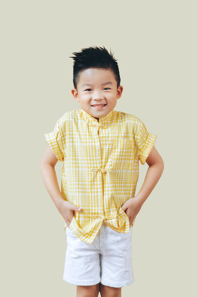 Oriental Yellow Checkered Short Sleeve Shirt