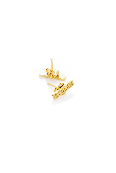 TINY STOLEN BAR EARRINGS YELLOW GOLD PLATED