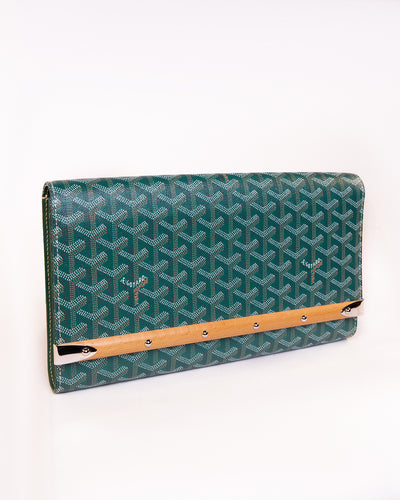Leather and wood embellished clutch