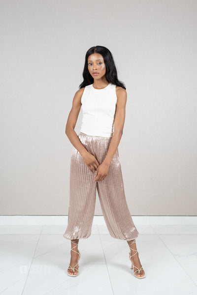Cropped pleated cuffed hem pants