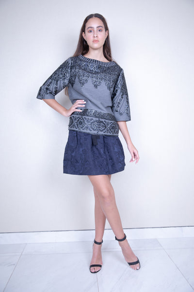 Metallic embroided short sleeve jacquard top