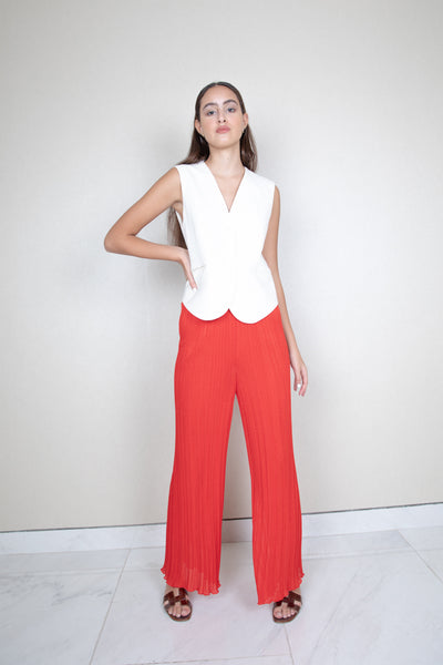 Wide leg ribbed knit pants