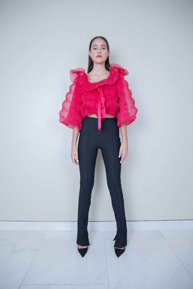 Tie bow geometric pleated organza bolero jacket
