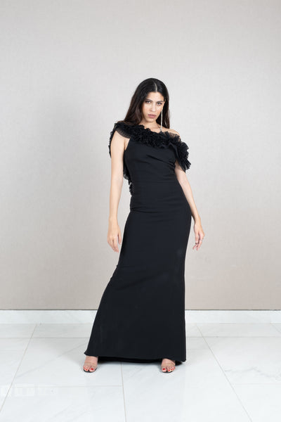 Fitted pleated ruffle neck and back maxi dress