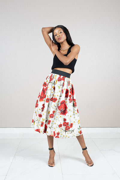Cotton pleated midi skirt