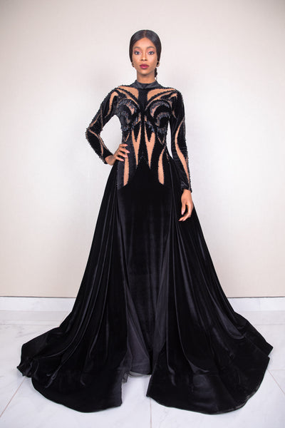 MNM 2296 beaded cut out long sleeve fitted gown