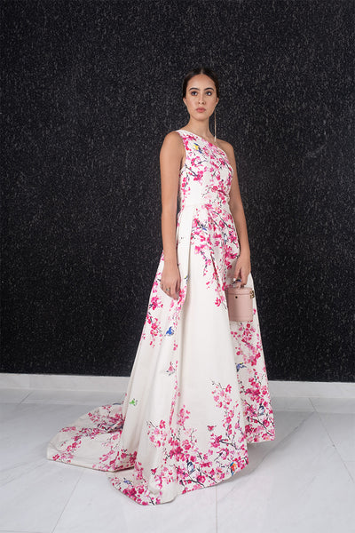Cherry blossom floral print one shoulder gown