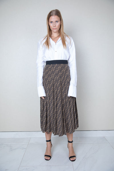 FF Monogram highwaisted skirt with side slit