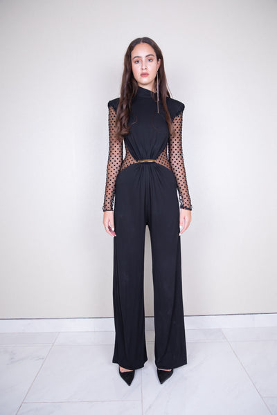 Polka dot mesh viscose jumpsuit