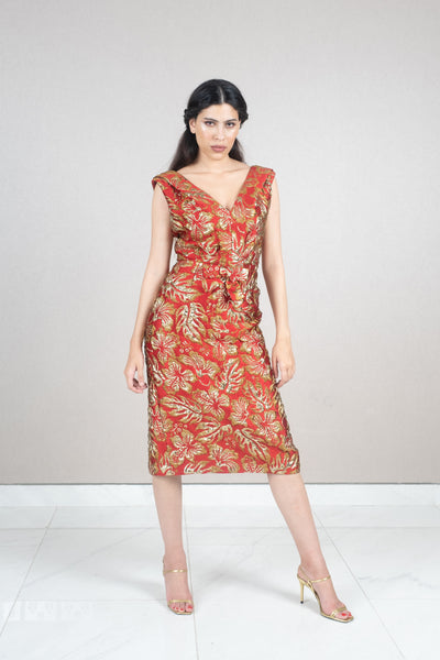 Sleeveless metallic floral jacquard midi dress