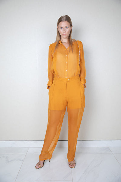 Tailored pleated sheer trousers w/ short lining