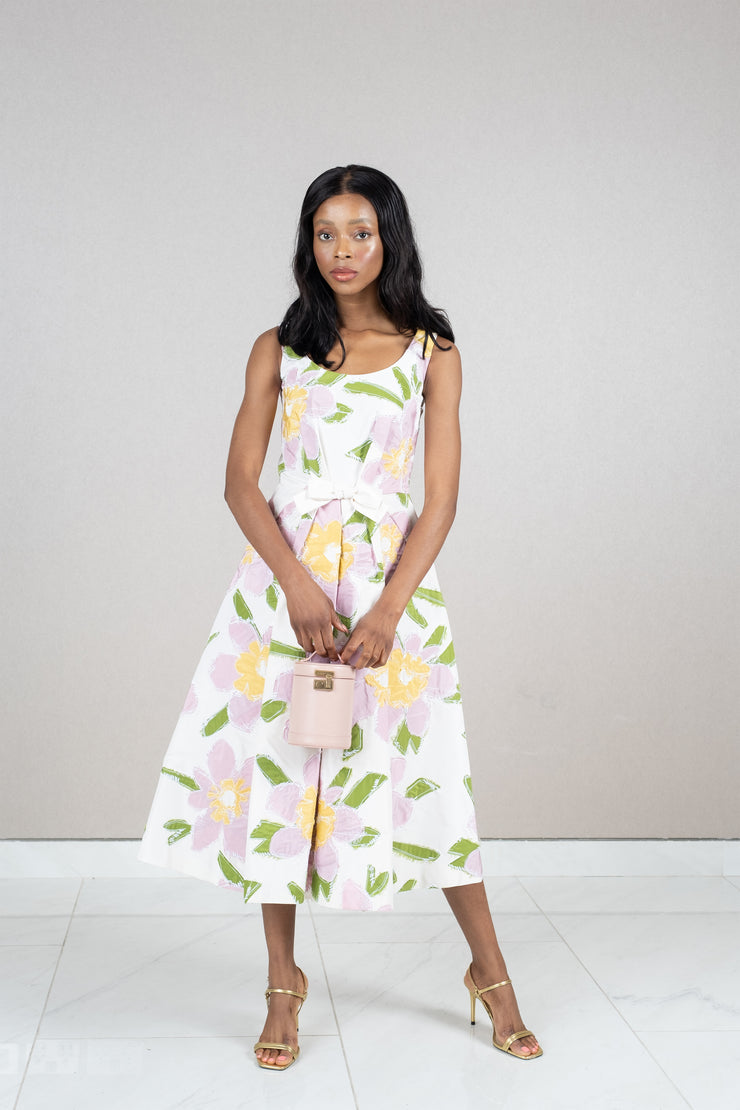 Floral print pleated waist midi dress