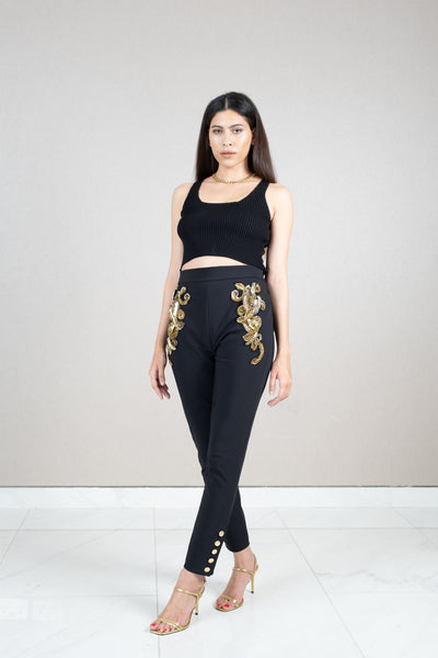 Gold embellished button leg pants