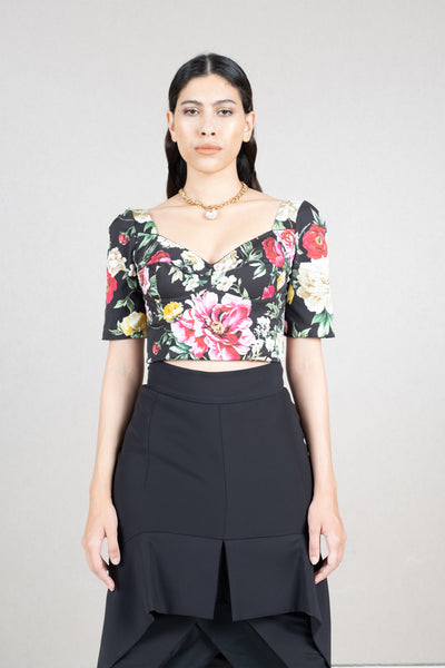 Floral print cotton blend crop top