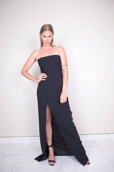 Strapless w/deep front slit stretch cady maxi dress
