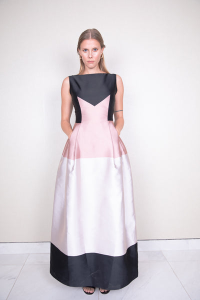 Long freesia paneled color block satin twill gown
